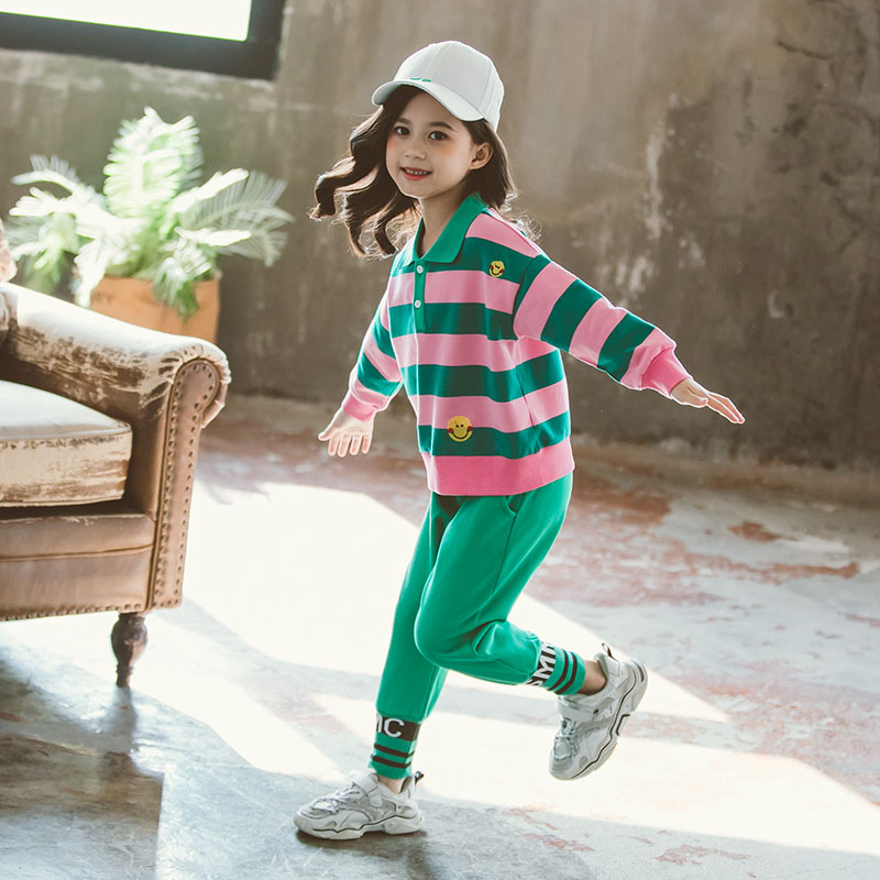 Childrens clothing childrens color contrast wide stripe Lapel smiling face cartoon printed shirt casual long pants two piece suit for girls