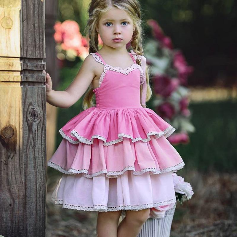 ins爆款童裙女童时髦洋气吊带蛋糕裙宝宝露背绑带花边连衣裙2-4岁