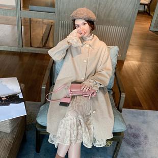秋冬季2019新款茧型毛呢外套女中长款宽松妮子大衣蕾丝连衣裙套装
