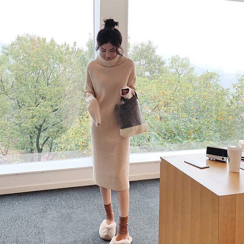 冬季2018新款气质淑女半高领翻边兔绒针织连衣裙中长款过膝毛衣裙