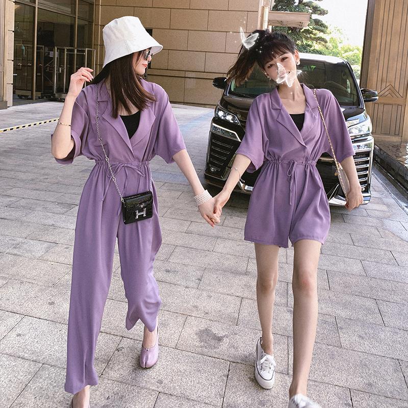 夏季女装2020新款紫色连体裤女工装连衣裤西装领收腰连身阔腿裤子