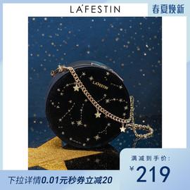 拉菲斯汀2019新款时尚小香风毛呢女包2020单肩斜挎星星链条小圆包