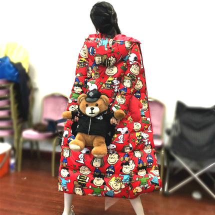 2020 new down jacket female long over knee cute star same red Snoopy student slim winter coat