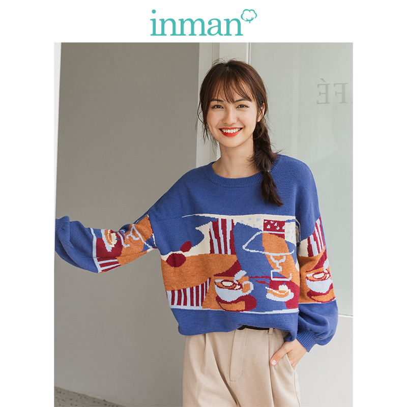 Yinman 2020 new style literature and art round neck falling shoulder sleeve jacquard pattern warm and loose Pullover Sweater for women