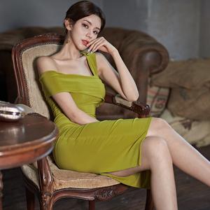 气质女神范衣服一字肩连衣裙性感夏名媛轻奢女装修身包臀礼服裙子