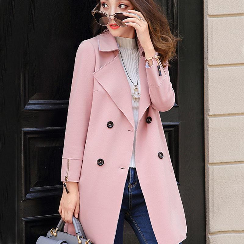 2019 봄과 가을 새로운 트렌드 패션 긴 윈드 브레이커 느슨한 대형 더블 브레스트 재킷 숙녀