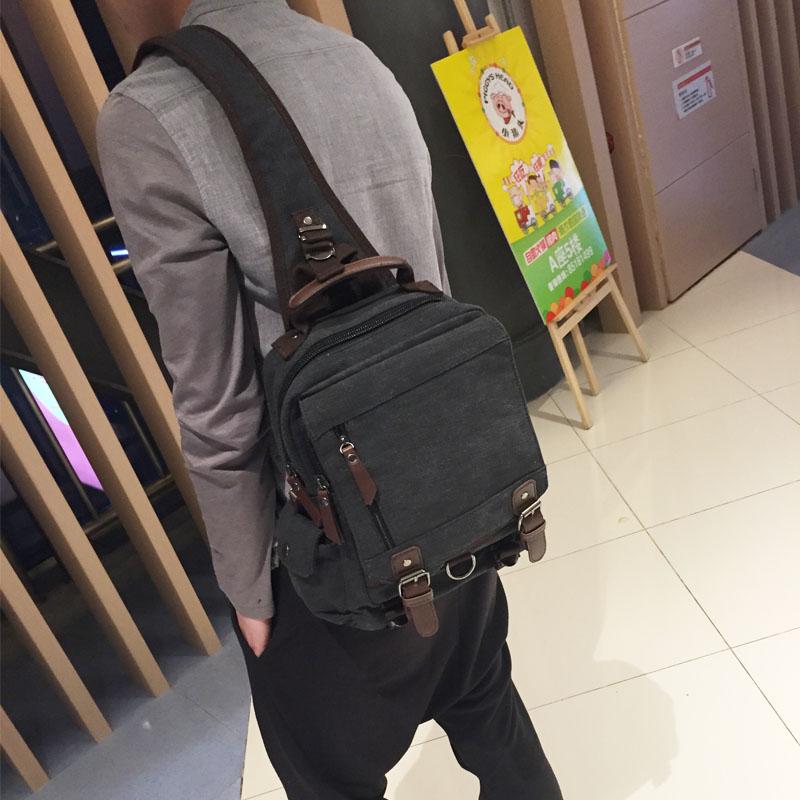 New mens bag retro commuter canvas large mens single shoulder bag large capacity single shoulder chest bag Single Shoulder Messenger Bag