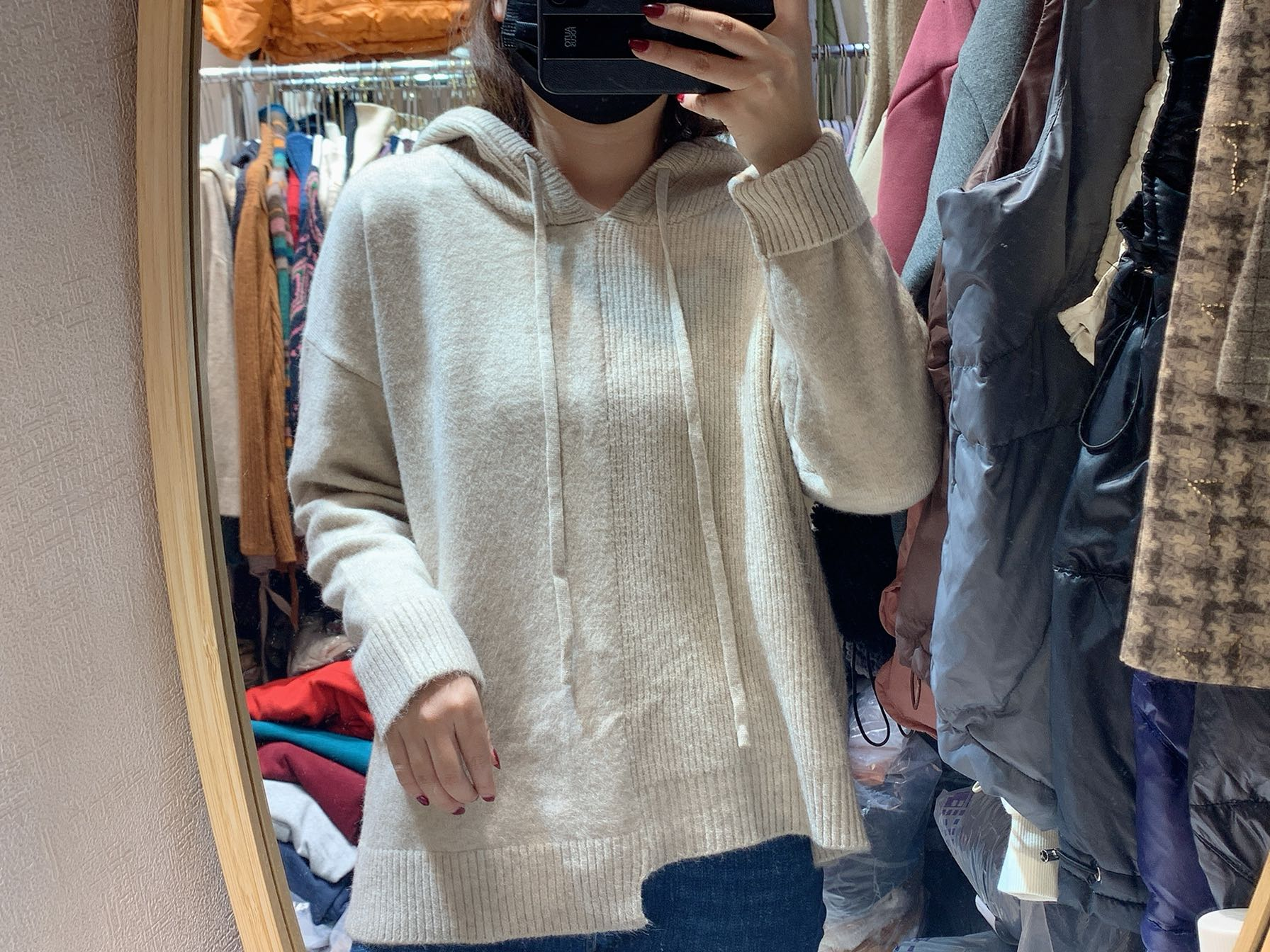 European irregular tailoring design loose and thin, versatile hooded Pullover Sweater sweater for women winter trend 2020
