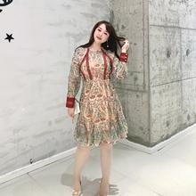 GLEC大码女装春装2020年新款女网红刺绣小碎花蕾丝花边显瘦连衣裙