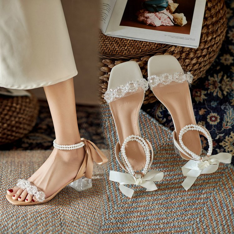 2021 niche original ankle pearl chain back strap bow knot sweet fairy style transparent medium high-heeled sandals