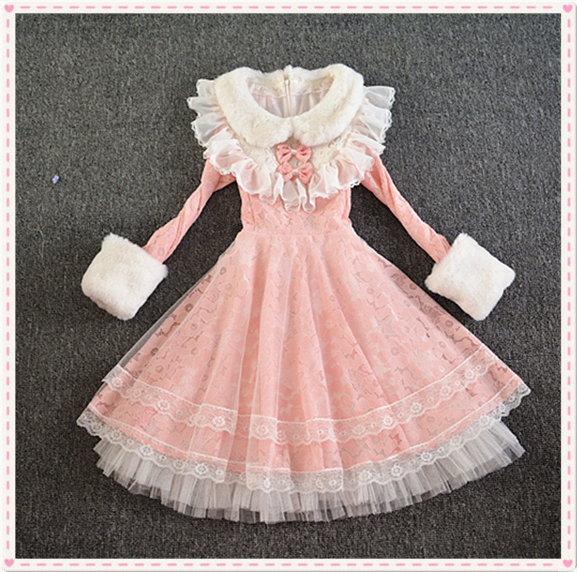 2020 new product original Lolita sweet lotus leaf Japanese slim thick hairy Princess Dress Dress Dress