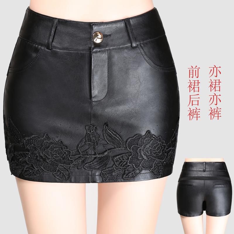 PU皮短裤女大码秋冬新款韩版高腰显瘦修身绣花假两件包臀裙裤靴裤