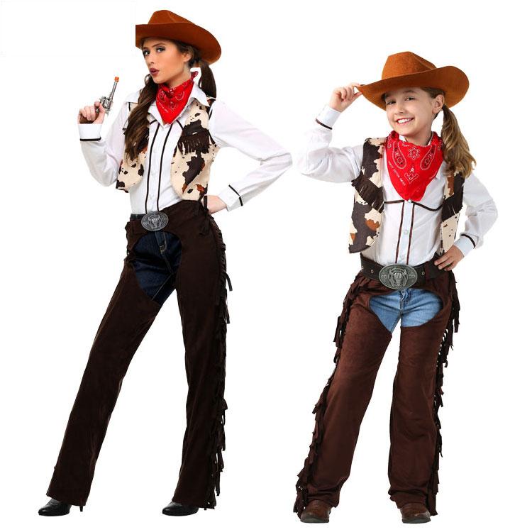 Роскошь хэллоуин этап производительность производительность ребенок взрослых женщин американские деньги страна запад ковбой родителей одежда