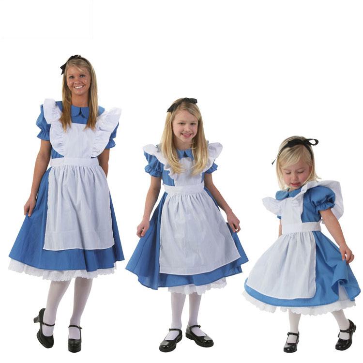 Хэллоуин COS горничная ребенок взрослых женщин синий хлопок элис мечтать тур страна чудес Alice элис одежда