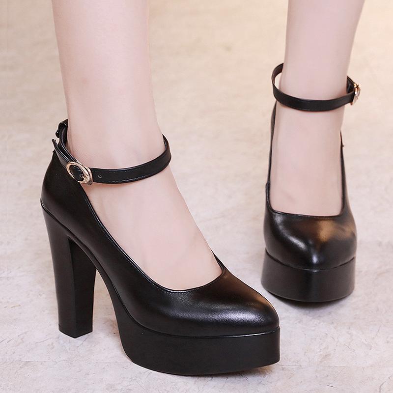 头层牛皮超高跟单鞋大小码防水台旗袍走秀女鞋一字形体T台工作鞋