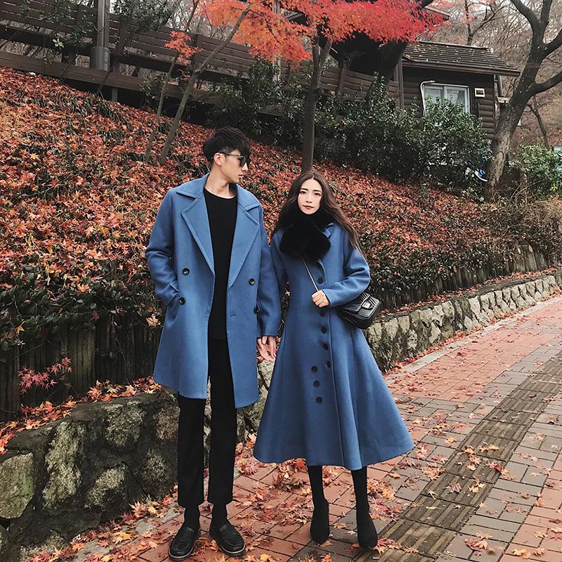 阿姐家定制 2018新品冬季情侣装中长款a字毛呢黑色大衣女加厚外套