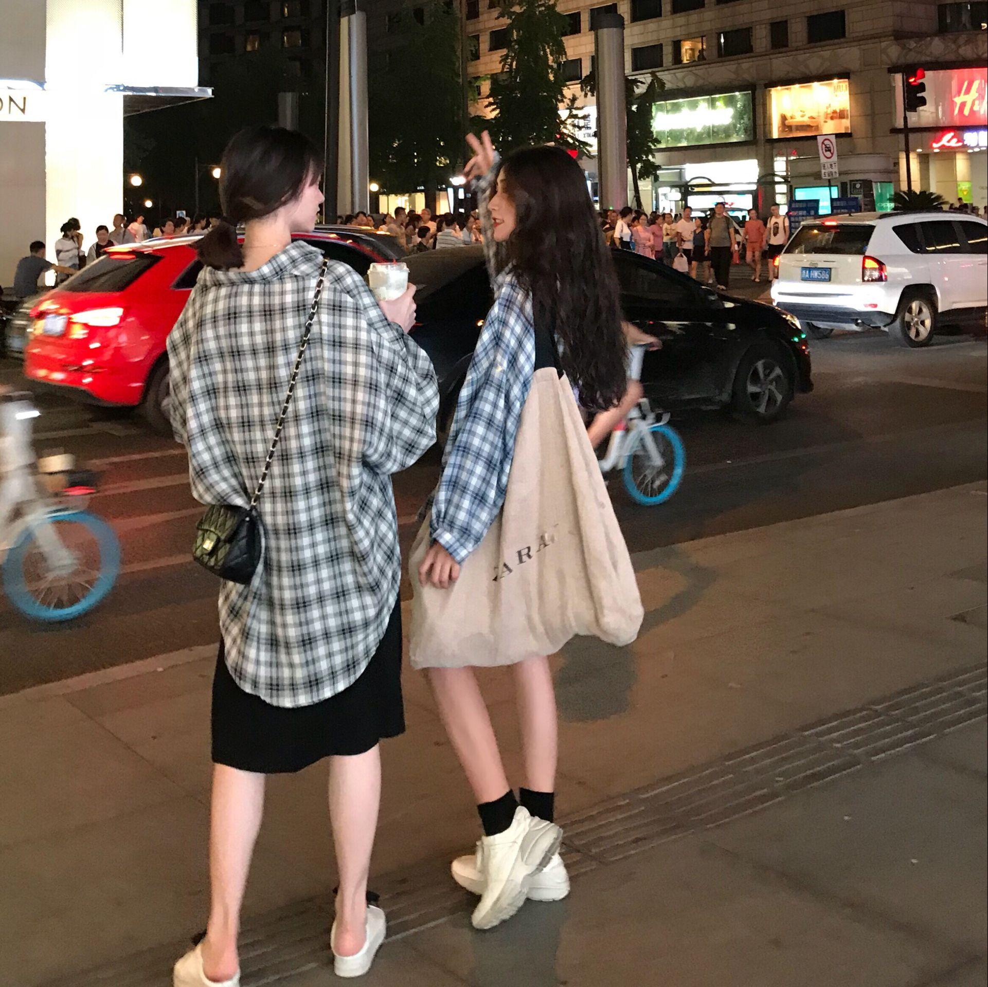 阿姐家 2018秋季新品格子经典复古格子衬衫女中长款宽松巨袖衬衣