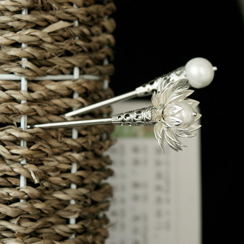 花朵贝壳珍珠发簪两支套簪一套古风簪子顶簪假一赔三