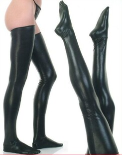 Sexy Lingerie Leather Leather Pants Rompers paragraph patent leather socks sexy temptation
