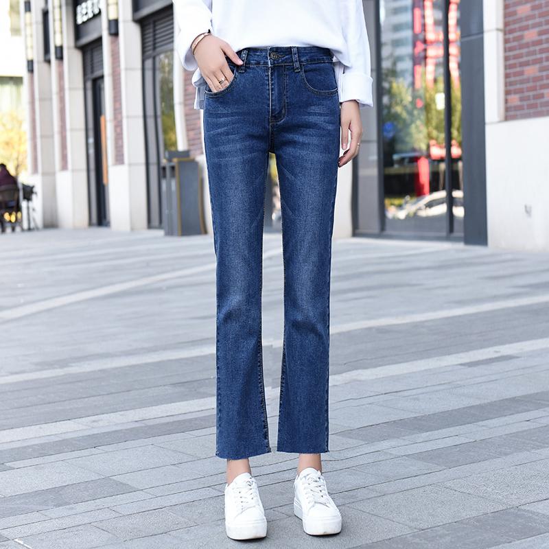 高腰喇叭牛仔裤女九分小个子新款秋冬韩版显瘦微喇弹力宽松八分裤图片