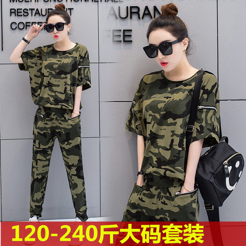 2021 spring and summer new fattening plus size fat sister camouflage clothing long sleeve trousers sports leisure suit running suit