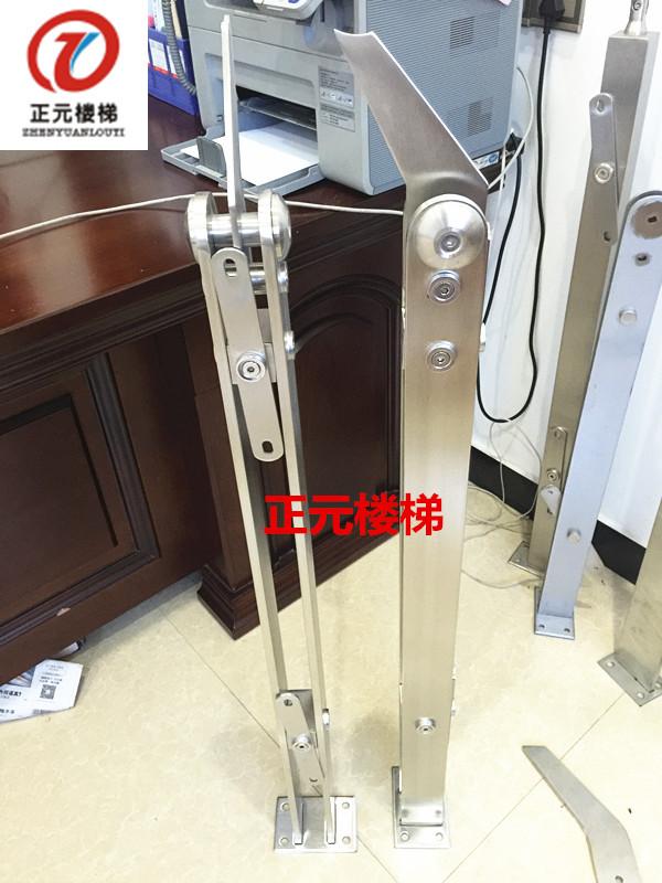 正元304材质新款工程楼梯扶手栏杆扶栏阳台扁管不锈钢玻璃立柱