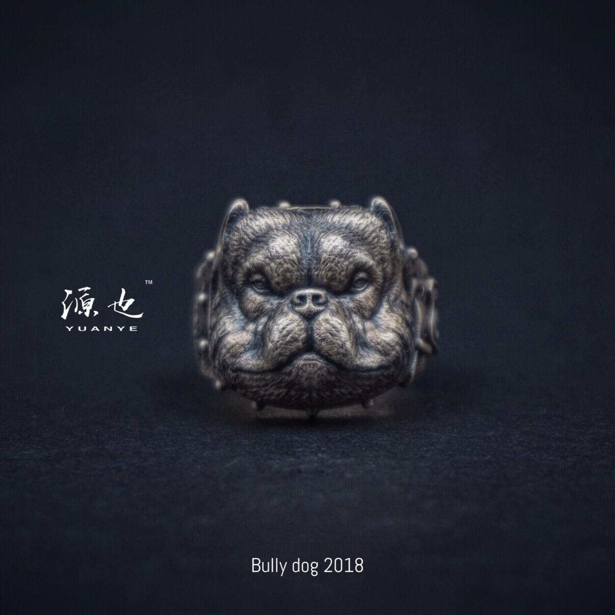 源也 原创S925恶霸犬纯银戒指 斗牛犬本命年简约个性复古指环新品