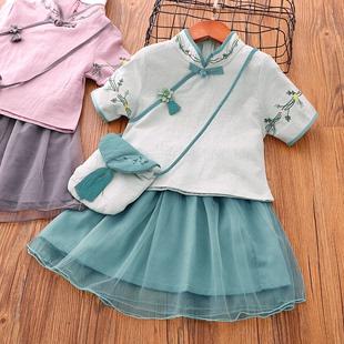 女童2019夏装新品中国风绣花棉麻汉服两件套唐装古风儿童旗袍裙子