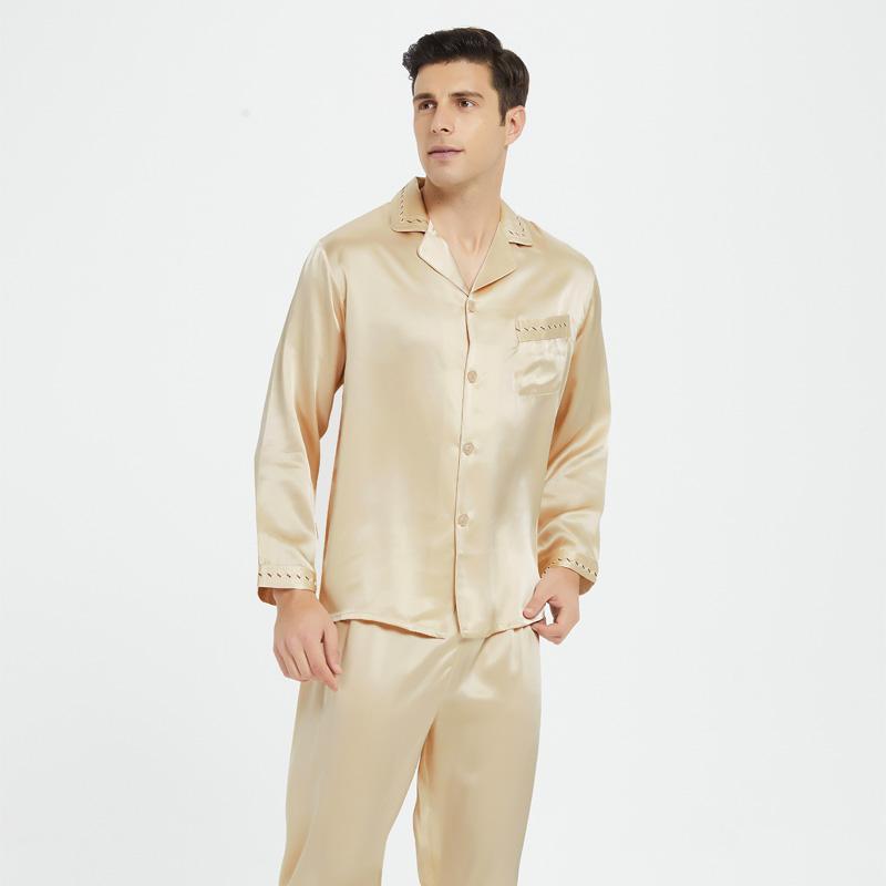 男士短袖长袖两件套装桑蚕丝夏睡衣(用30元券)
