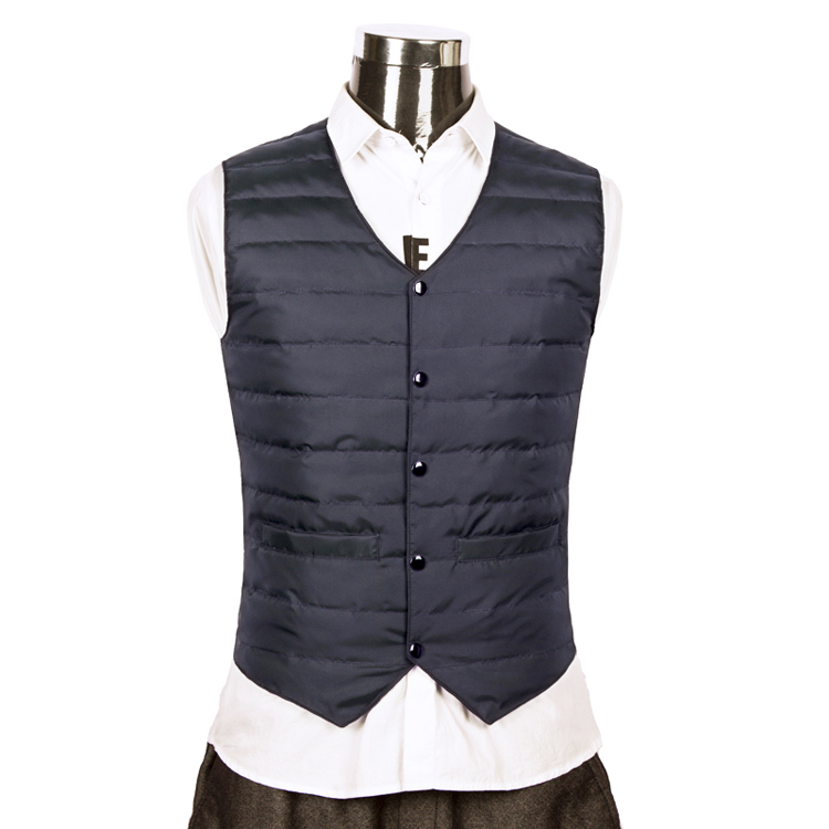 Autumn and winter warm down vest mens light and thin V-neck suit large waistcoat slim Korean business plus