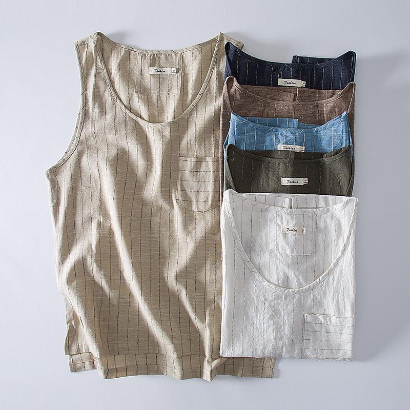 夏季日系亚麻条纹男背心中国风圆领无袖休闲宽松棉麻汗衫M2849P55