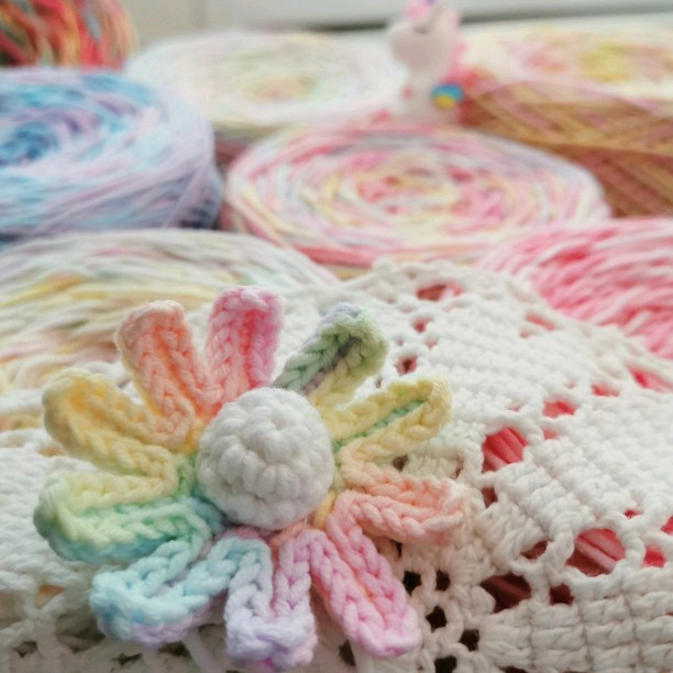 Yuemas new color five five strand milk cotton hand dyed baby cotton doll sweater scarf hand woven thick segment dyed