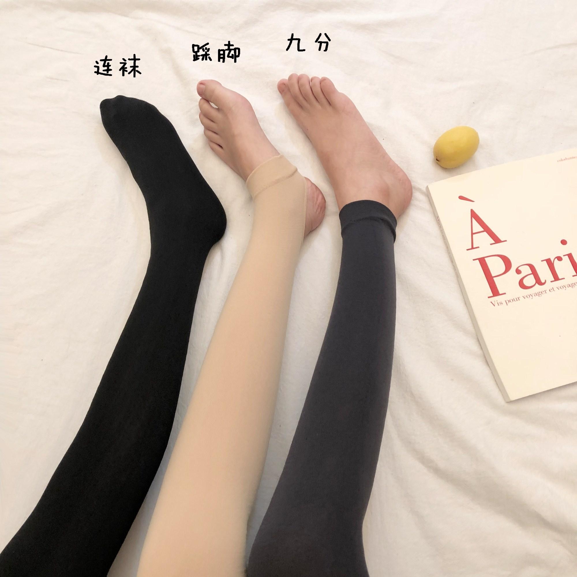 夏季韩版纯色百搭新款加绒连脚打底丝袜显瘦美腿踩脚裤袜长袜女图片