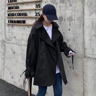 秋季韩版chic网红宽松气质西装领黑色长袖港味风衣外套女2020新款