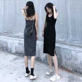 打底露背性感吊带连衣裙秋冬2020新款内搭背心小黑裙休闲裙子女潮
