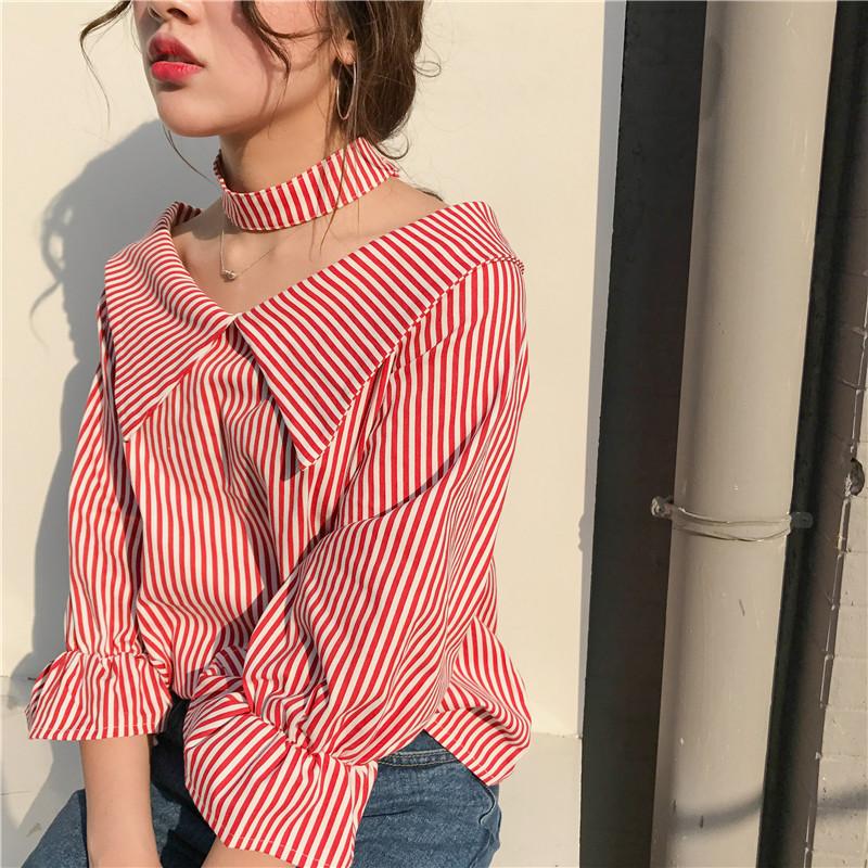 2018春季女裝時尚韓版小清新一字領喇叭袖襯衫露肩格子條紋上衣潮