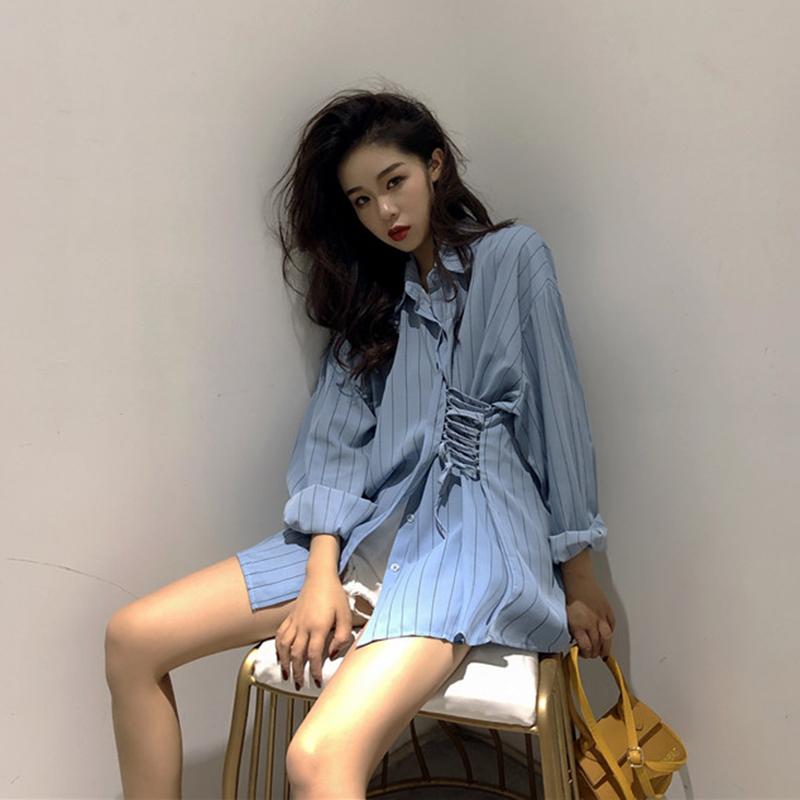 复古温柔条纹衬衣女2018新款不对称多种穿法雾蓝色气质慵懒衬衫潮