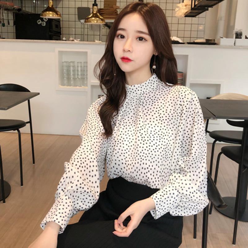 2018春装女装韩版甜美宽松满天星雪纺衫百搭立领长袖打底衬衣上衣