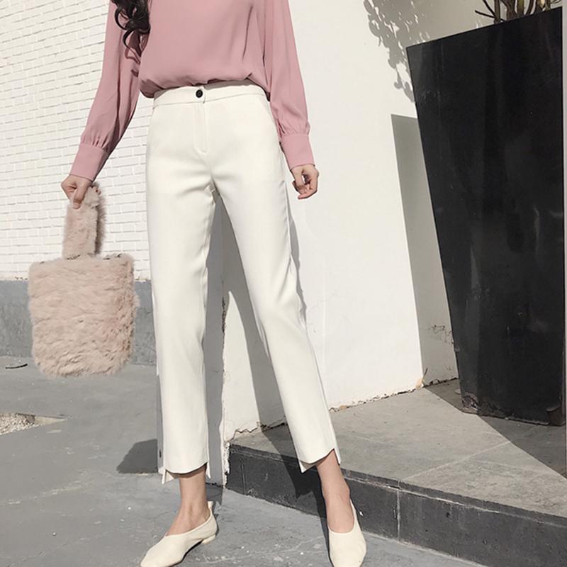 2018春季新款韩版小脚裤职业薄小直筒裤下脚缺口显瘦九分西装女裤