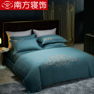 南方寝饰提花磨毛四件套全棉纯棉床单被套床品套件单双人床上用品