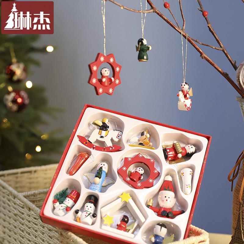 琳杰2019年新款木质圣诞老人圣诞树装饰品套装木质彩绘雪老人挂件