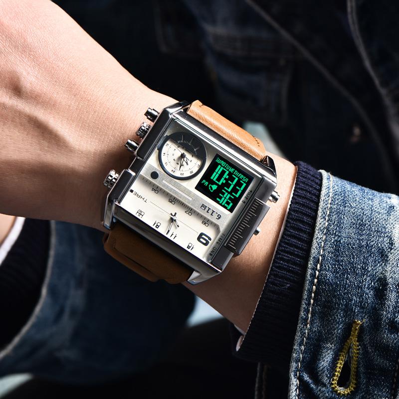 韩版方形男表三机芯电子手表真皮带多时区运动表夜光大表盘男方表