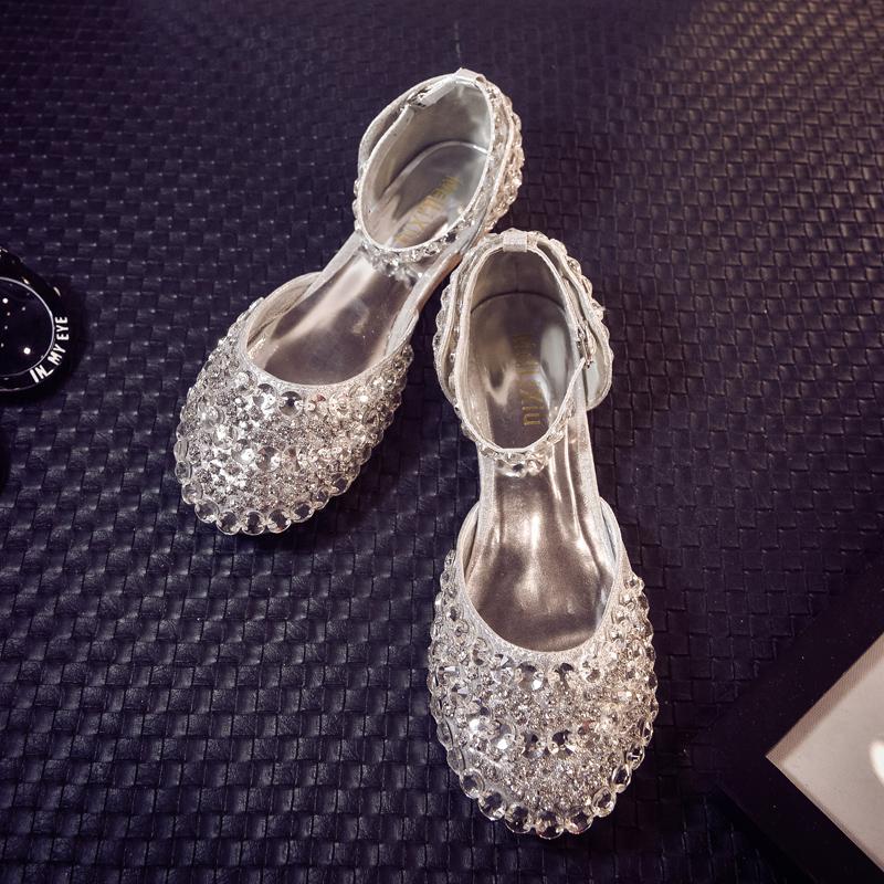 单鞋女平底鞋2020新款仙女水钻女鞋百搭水晶鞋婚鞋包头公主鞋凉鞋