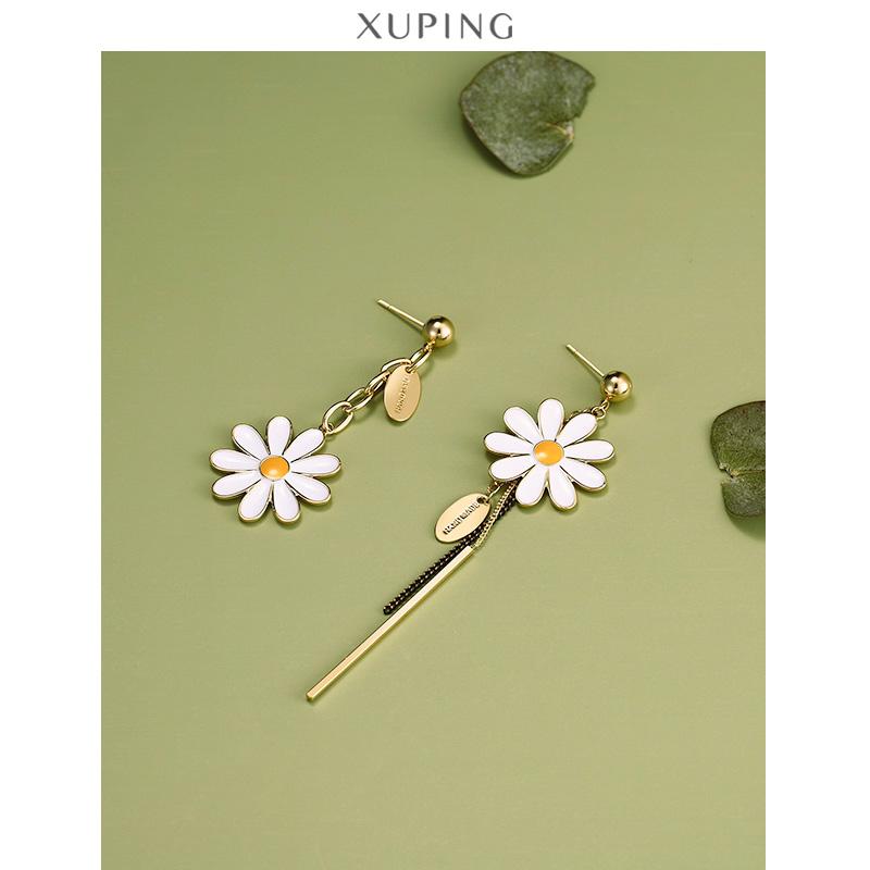 旭平S925纯银小雏菊花朵长款耳环女生气质网红小众设计潮耳坠饰品图片