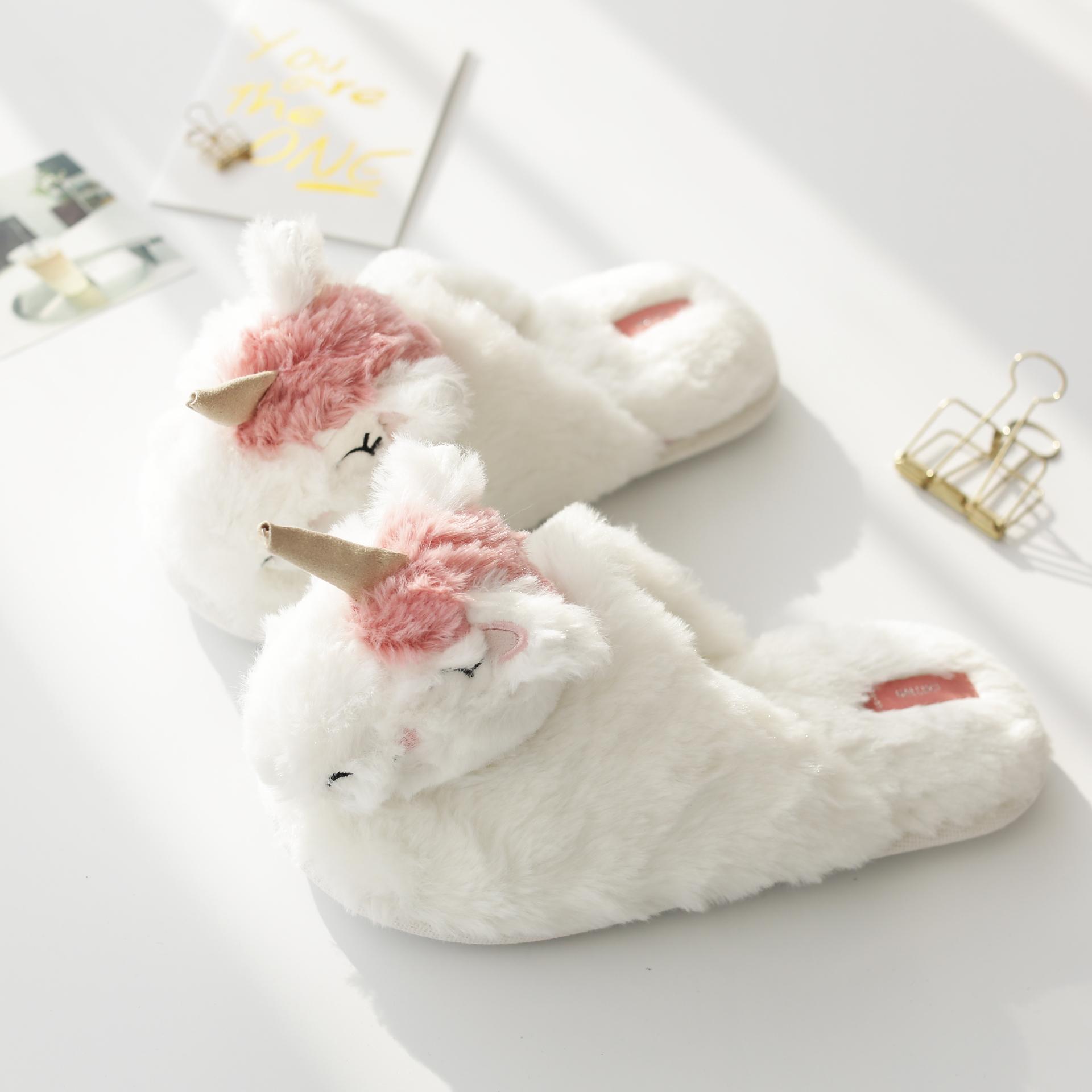 可爱冬立体工艺萌兔包脚保暖韩式女款毛绒防滑室内家居拖鞋地板鞋