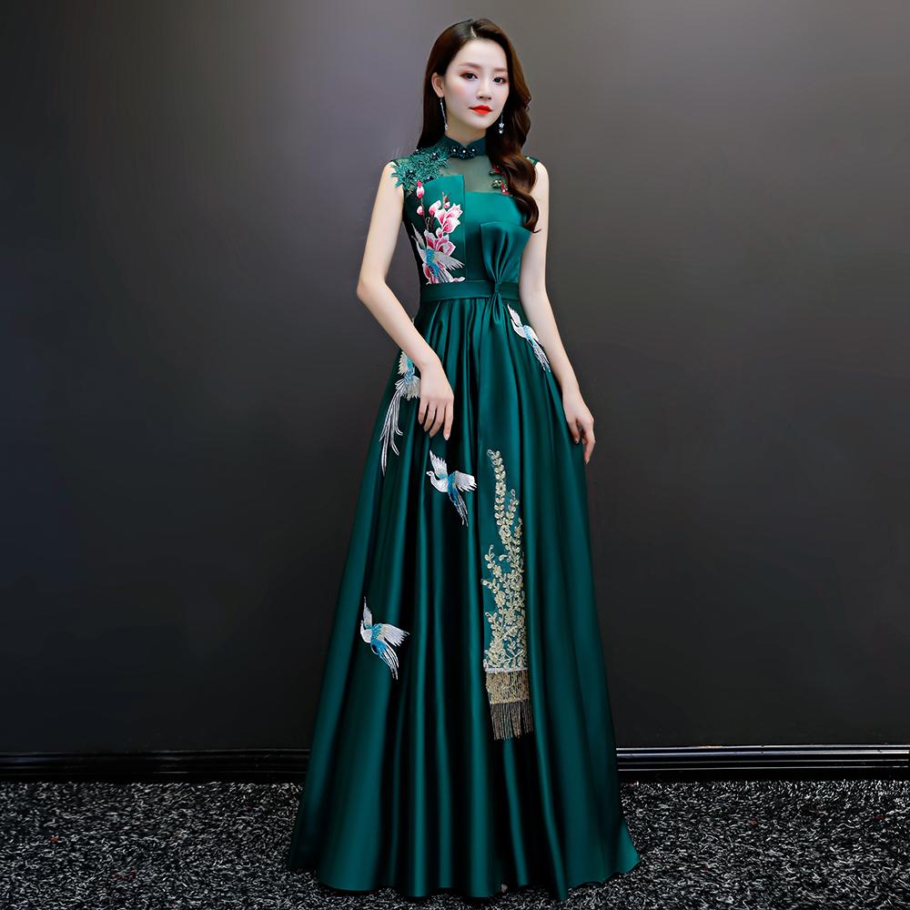 宴会晚礼服主持模特走秀合唱团演出服墨绿色旗袍年会晚装修身显瘦