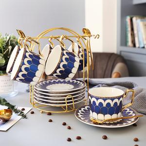 领3元券购买英伦风ins欧式陶瓷杯咖啡杯套装下午茶茶具创意杯子家用带碟勺架