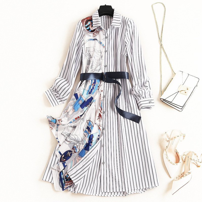 European and American style striped dress 2020 spring patchwork print mid long skirt Lapel single breasted shirt skirt