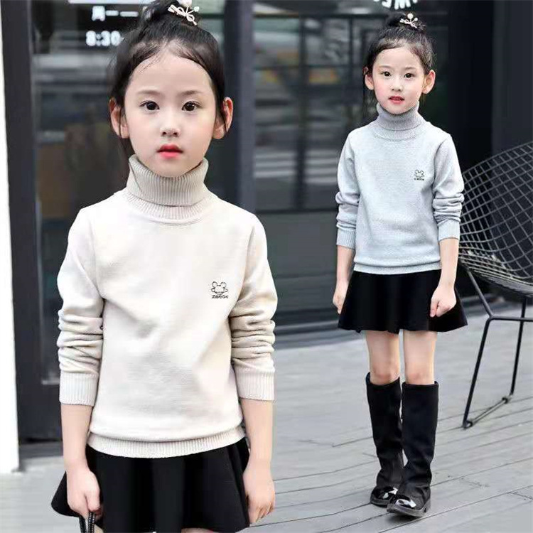 Korean version 2021 autumn and winter girls high and low neck sweater large, medium and small childrens knitted childrens bottomed shirt with plush thickening