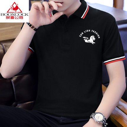 报喜公鸡新款夏季男士短袖t恤衬衫领半袖衣服韩版潮流夏装男装